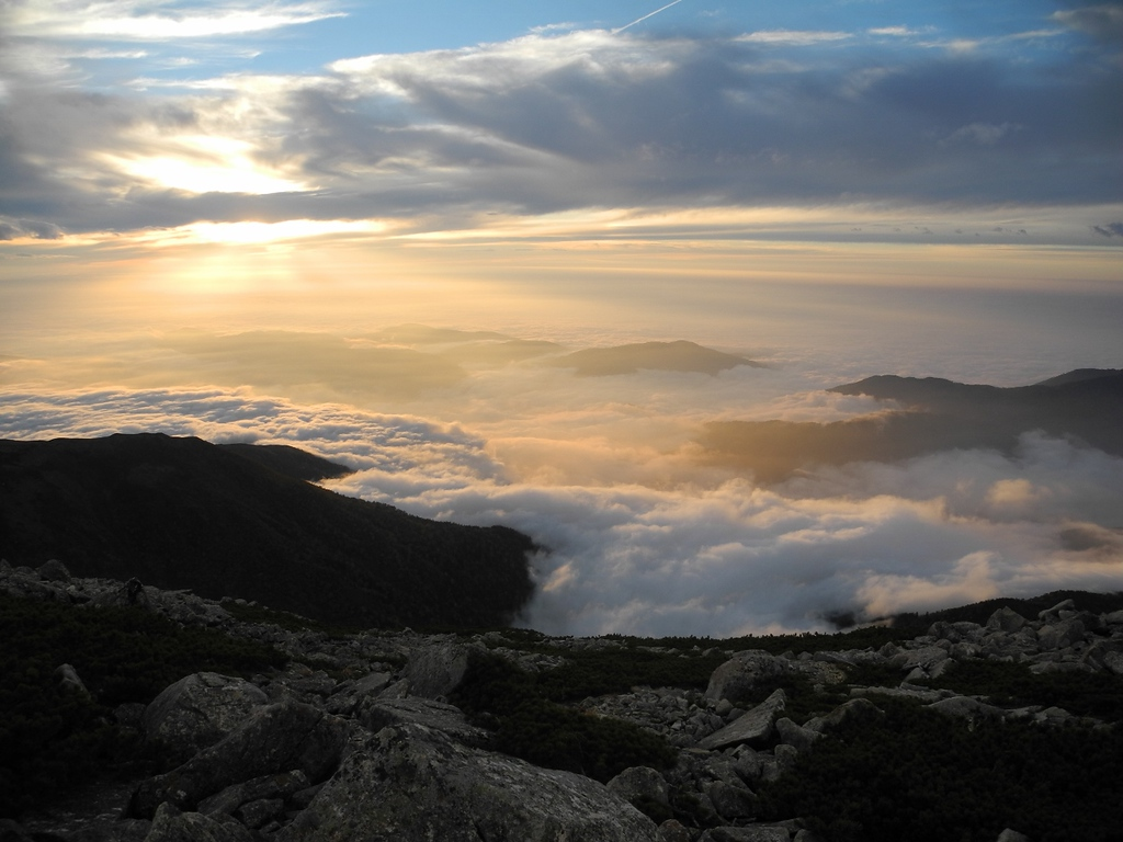 A sea of cloud, a view often enjoyed from higher altitudes in the North Alps.