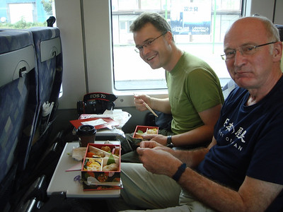 o-bento lunch boxes on the train