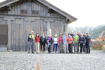 Team photo at start of trek outside old Murodo mountain hut.