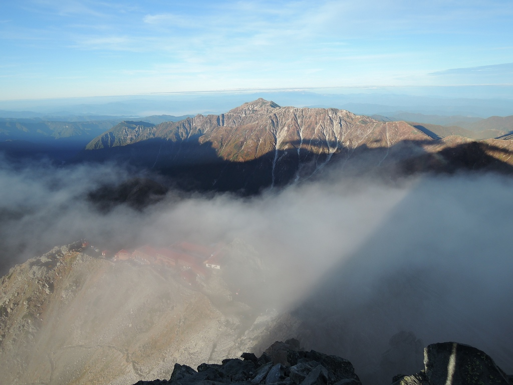 Yarigatake Sanso hut from peak at sunrise.