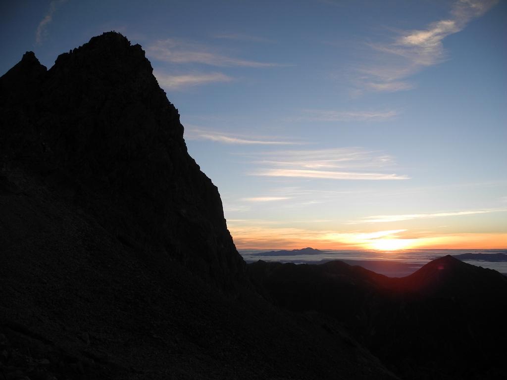 Yargatake peak at sunrise.