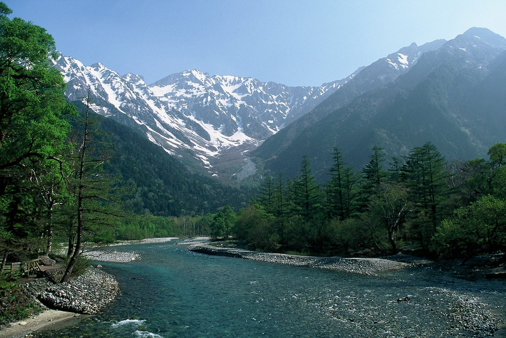 THE AZUSA RIVER FROM KAPPABASHI BRIDGE, KAMIKOCHI.