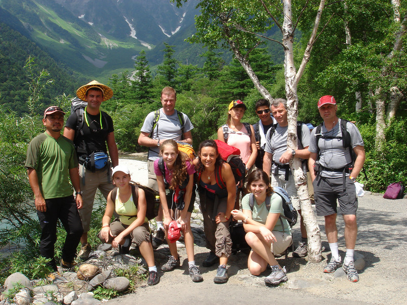 UKRAINIAN GROUP AT THE START OF ONE OF QUEST JAPAN'S HIKE JAPAN NORTH ALPS HIKES.