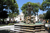This fountain, Fuente de las Sirenas (Fountain of the Sirens), is in the center of the Plaza de Armas. It was designed in 1739 by Miguel Porras, one of the city's renowned colonial architects.  Saint Joseph's Cathedral can be seen behind the fountain.