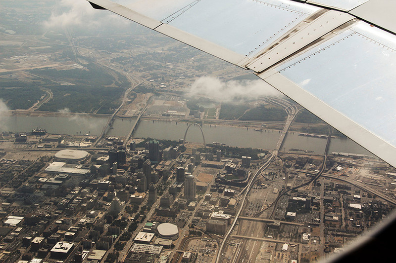 "As we started our Route of the Maya trip, we flew over downtown St. Louis, viewing ""The Arch"" and the very shallow Mississippi River."