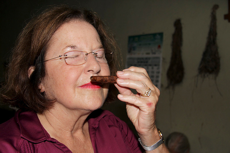 Cigar connoisseur Suzanne, who tried her own hand at rolling,  approves of the product.
