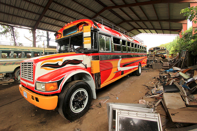 ...and voila! Your new chicken bus is ready to roll!.  We were told that the old school buses are bought for about $1000 in the US then driven to Guatemala.  Then it costs about $4000 to turn it into a chicken bus at a shop like this.