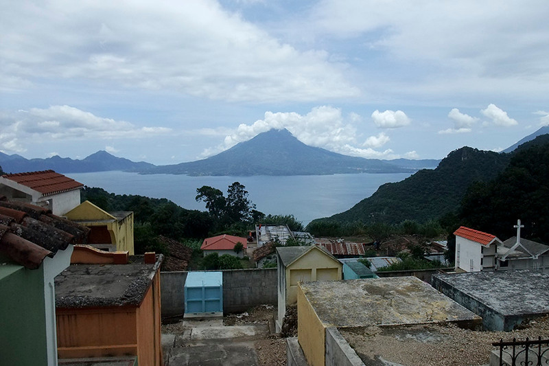 The cemetery is built on a hillside with a great view of Lake Atitlan.
