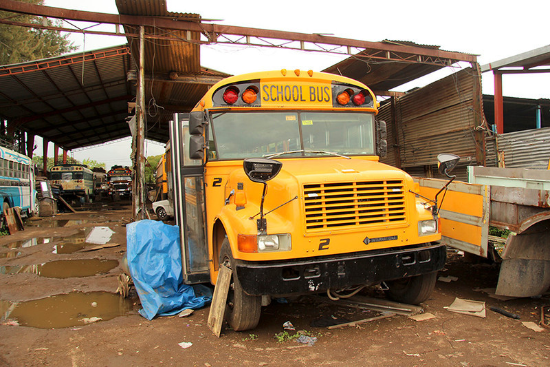 On our way to Antigua we stopped at a mechanics shop where old school buses from the US are turned into chicken buses.