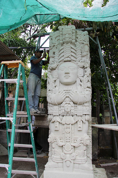 Along our journey, we stopped to visit these modern artists at work--here creating a copy of a stela for a customer.