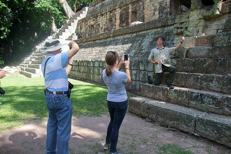 Martin and Sarah photographing Max in his best impersonation of the howler monkey god.