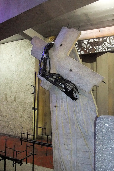 "The ""Stations of the Cross"" were depicted by intriguing sculptures."
