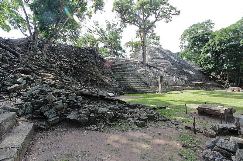 The Mayan civilazation was probably misunderstood in the early years of discovery among the ruins, resulting in some inaccurate restoration. The steps in the center of the picture, for instance, were thought to be only for climbing. It is now known step patterns had far  deeper purpose, so greater time and care is being given to restoration.