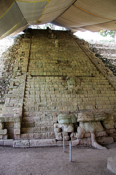 The Hieroglyphic Stairway.  The Stairway has the longest known Maya text inscription from ancient Mesoamerica,  The inscription tells the official history of Copán's rulers. The stairway was reconstructed in the 1930s and unfortunately many of the stones were not returned to their original positions.