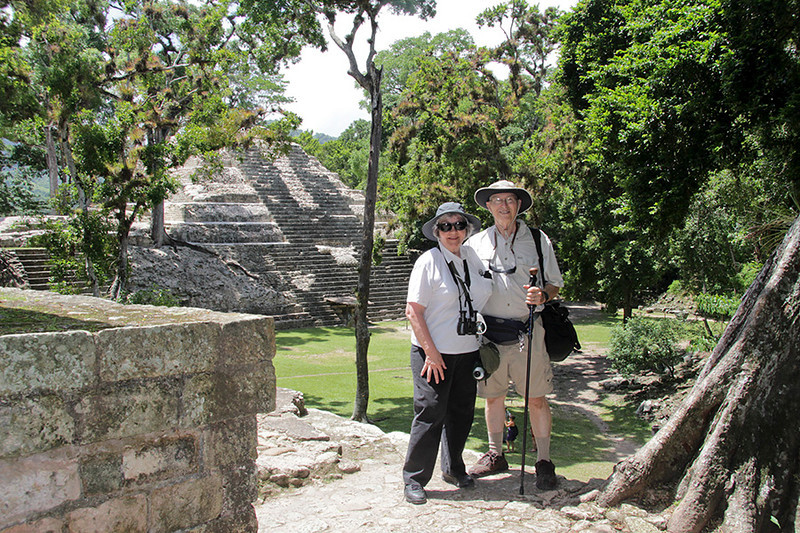 At Copan with the Rosalila Temple in the background. (One of us always likes to prove we were really there...the consummate tourist!)