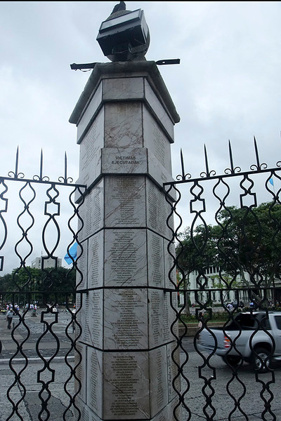 The 12 pillars have the names of thousands of people who were murdered or disappeared during the years of Guatemala's civil unrest from the 1960s to 1996.