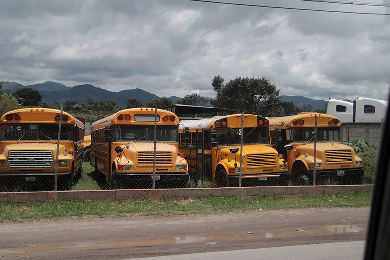These school buses were for sale--not for use as school buses--but to turn into chicken buses.  More on chicken buses still later.