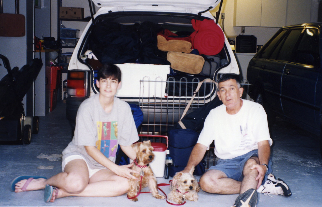This was after our first tent camping expedition in August of 1998. We managed to travel from central Florida to northern North Carolina in a Subaru Justy hatchback carrying cooking gear, tent, sleeping bags and pads, clothes, food, small fence for the dogs, and ourselves including Chiisai and Shadow. We all had a good time as well! It's amazing what you can do when you don't know any better. :-)