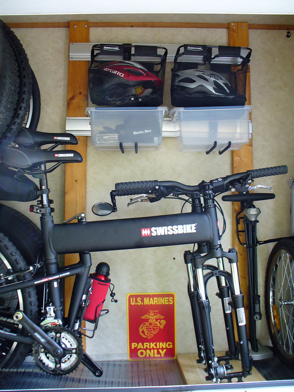 Our Bike garage, love this, because we have both bikes and Shadow's carrier and all bike stuff in one easy to get at location.
