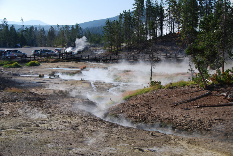 An area of smokey hot springs and geysers in the Hayden Valley.
