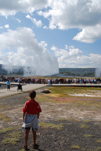 Jack watching a thousand people watch Old Faithful erupt.