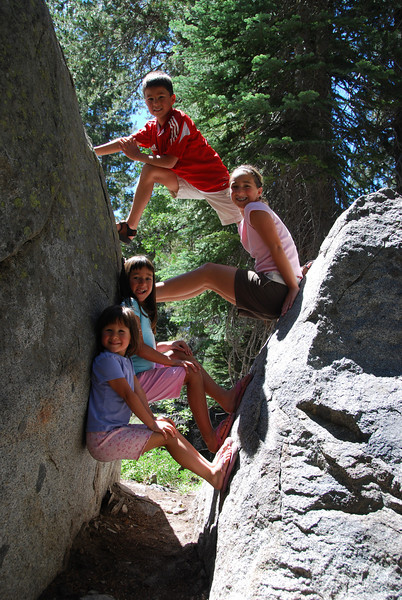 After the RV made it to Donner Summit (sometimes going just 35 MPH) we took a quick hike and the kids scaled summits of their own.