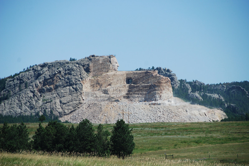 As we headed out of the Black Hills of South Dakota we passed the Crazy Horse memorial, which is maybe 20 miles from Mount Rushmore.  As you can see, it's a work in progress.