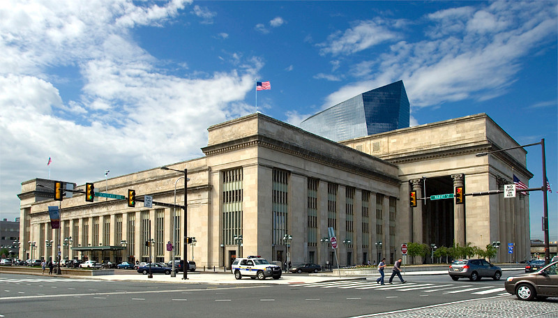 Amtrak's 30th Street Station, Philadelphia with the Cira Center behind the Station