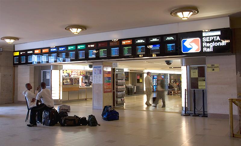 Amtrak's 30th Street Station, Philadelphia, entrance to SEPTA regional rail station at 30th Street Station