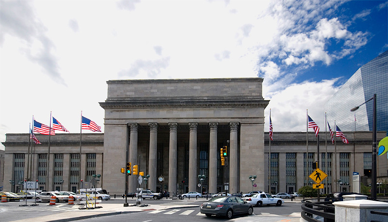 Amtrak's 30th Street Station, Philadelphia with the Cira Center to the right