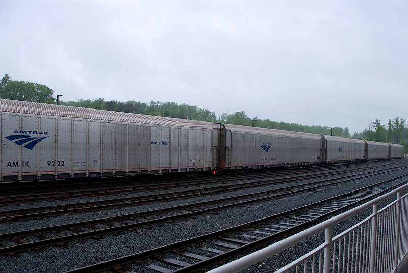 Amtrak's Auto Train vehicle carriers lined up for unloading at the Lorton Virginia station