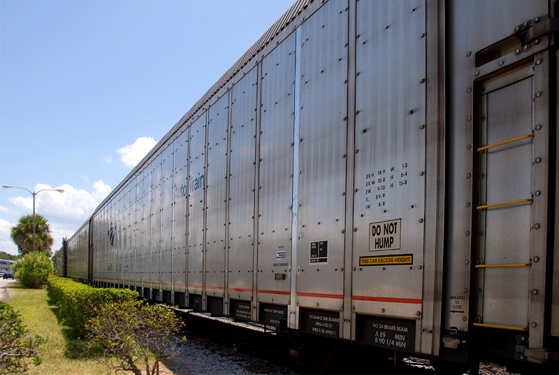 Amtrak's Auto Train vehicle carrier rolling stock loaded and ready to go at the Sanford Florida station