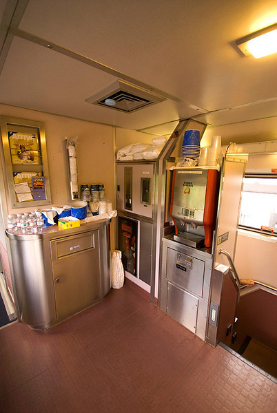 Amtrak's Auto Train sleeper car refreshment center, open all hours