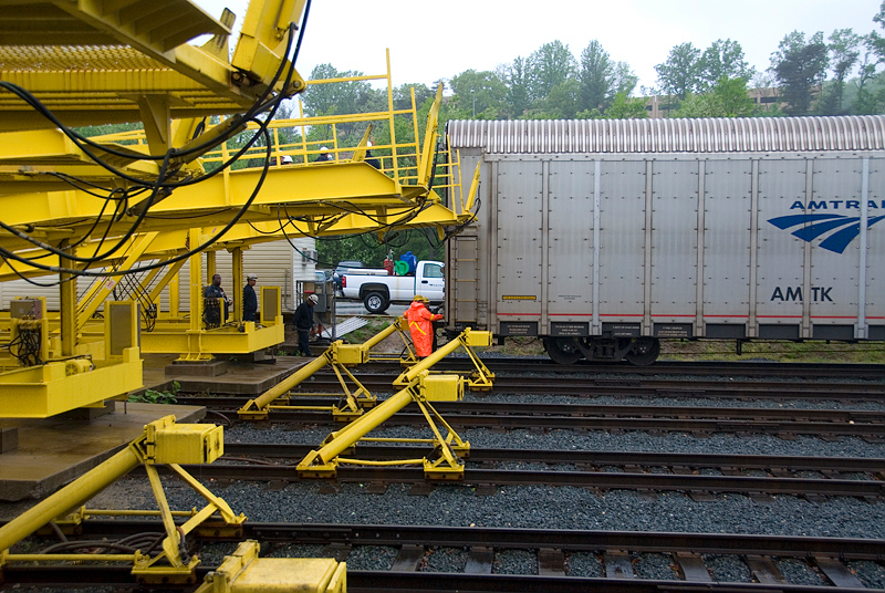 Amtrak's Auto Train getting ready to unload from the first vehicle carrier in the Lorton Virginia station