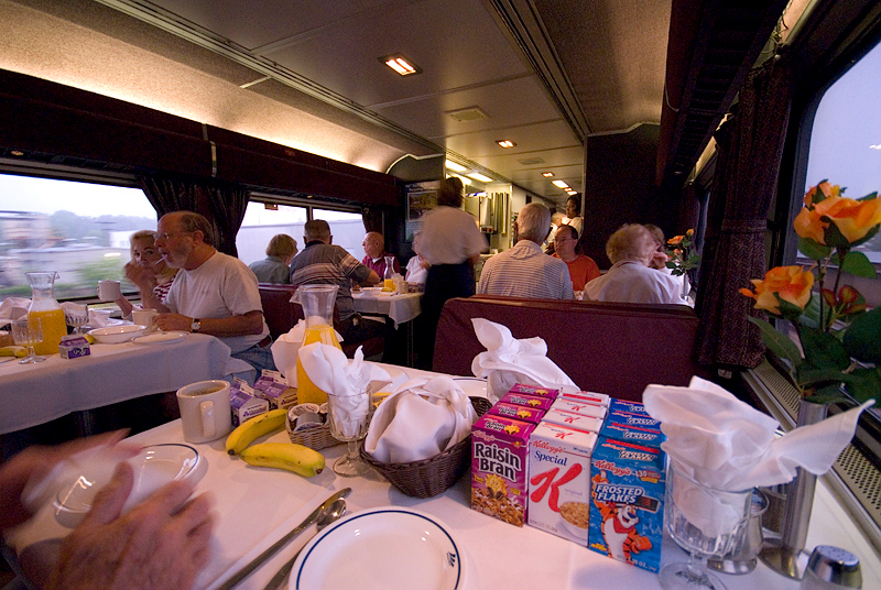 Amtrak's Auto Train early morning breakfast in the dining car