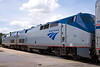 Amtrak's Auto Train pair of diesel engines are now attached to the train awaiting to leave at the Sanford Florida station