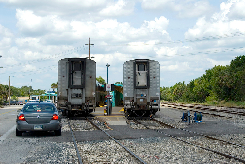 Amtrak's Auto Train, Sanford Florida Station, Passenger Cars awaiting train formation