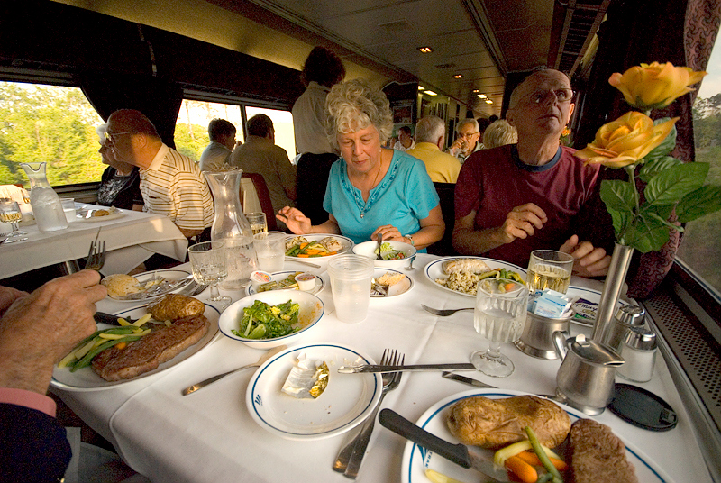 Amtrak's Auto Train at dinner
