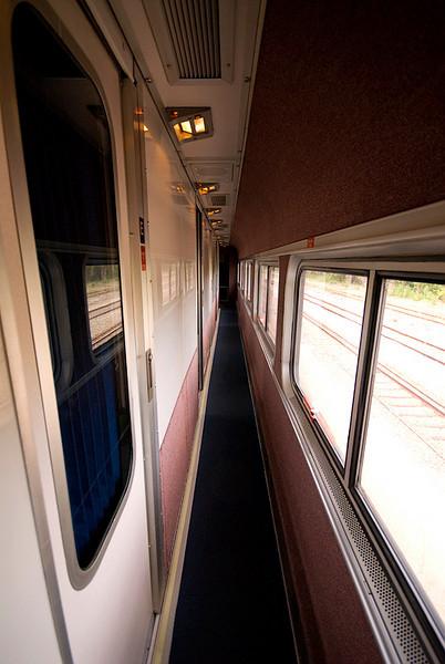Amtrak's Auto Train sleeper car down the hall
