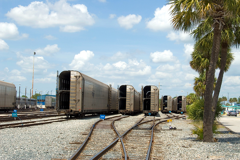 Amtrak's Auto Train vehicle carrier rolling stock awaiting cars to be loaded at Sanford Florida Station