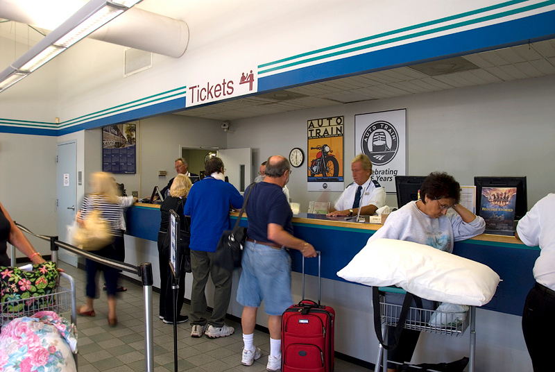 Amtrak's Auto Train ticket counter at the Sanford Florida station where all passengers must check in to get their car assignment and dinner time assignment
