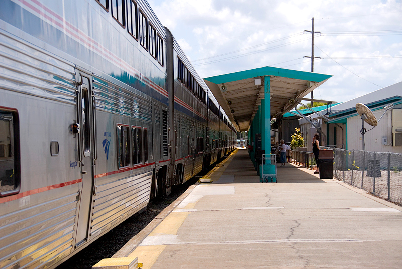 Amtrak's Auto Train Sanford Florida station platform with sleeper cars waiting for boarding