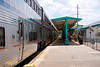 Amtrak's Auto Train Sanford Florida station platform with sleeper cars waiting for boarding