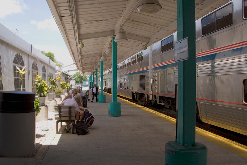 Amtrak's Auto Train at the Sanford Florida station platform, sleeper cars