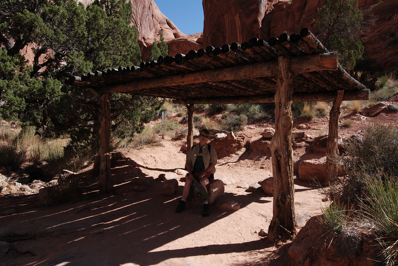 Shade structure at the end of the trail as you reach Rainbow Bridge.  Access beyond this point is restricted.