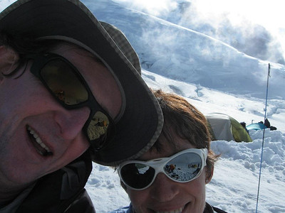 Conor and Mona at base camp. I shoulda gone with the cooler white glacier glasses, image is everything!