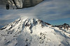 Small plane wing over Mount Rainier Seattle Washington