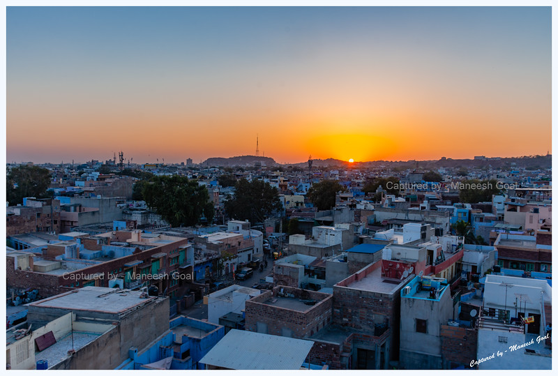 Sun sets over the blue city, Jodhpur