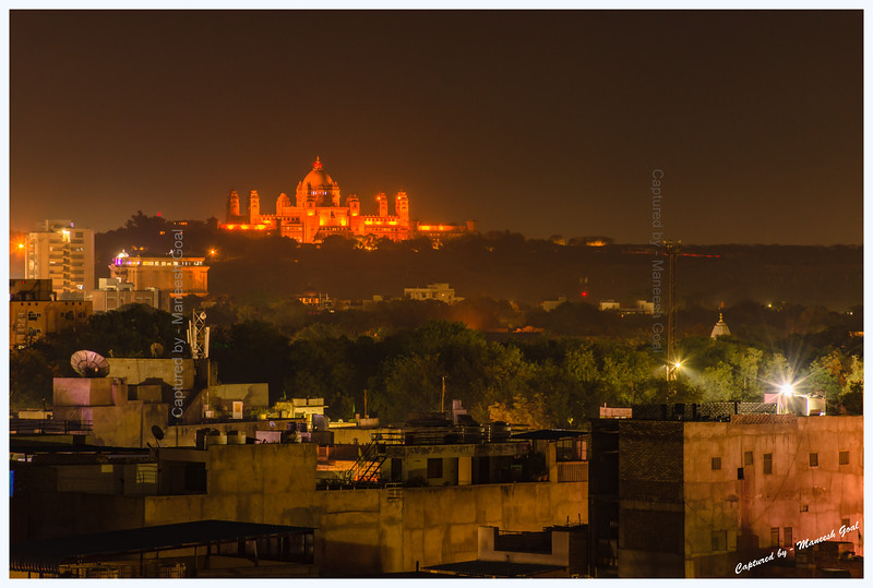 Richly illuminated Umaid Bhawan Palace, Jodhpur, at night