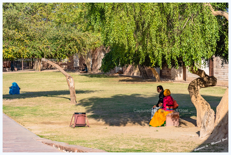 People relaxing in the lawns of Mehrangarh Fort, Jodhpur